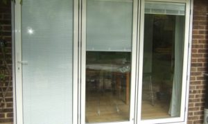 aluminium bifold doors with integral blinds