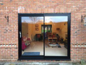 Modern woodgrain slimline sliding doors Kenilworth